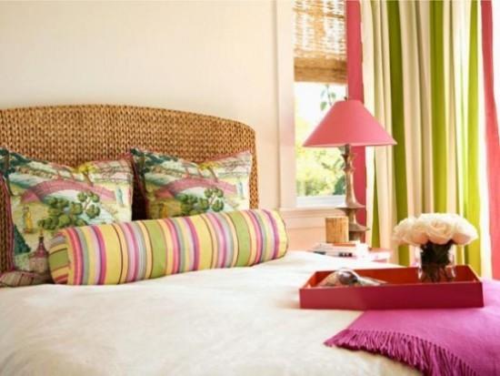 Schlafzimmer Ideen frische Farben und verspielte Muster Farbakzente