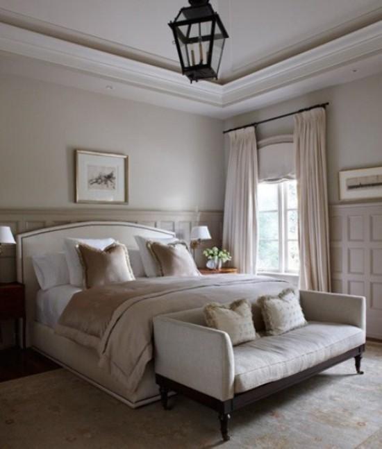 Schlafzimmer Ideen neutrale Farben feine Texturen romantische Atmosphäre