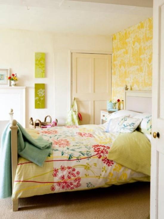 Schlafzimmer frische Farben und verspielte Muster
