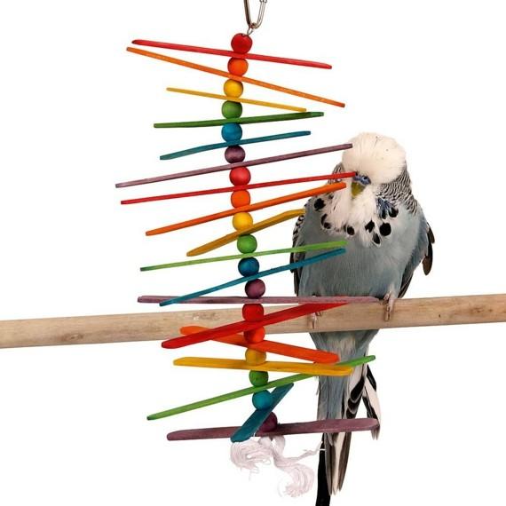 Spielzeug für Wellensittiche selber bauen Stäbchen