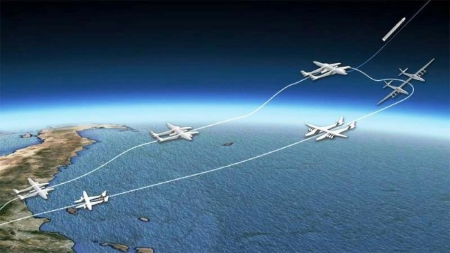 Stratolaunch, das größte Flugzeug der Welt, besteht Testflug mit vollem Erfolg wird raketen im weltraum schießen