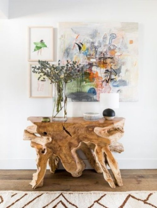 Treibholz im Interieur Beistelltisch