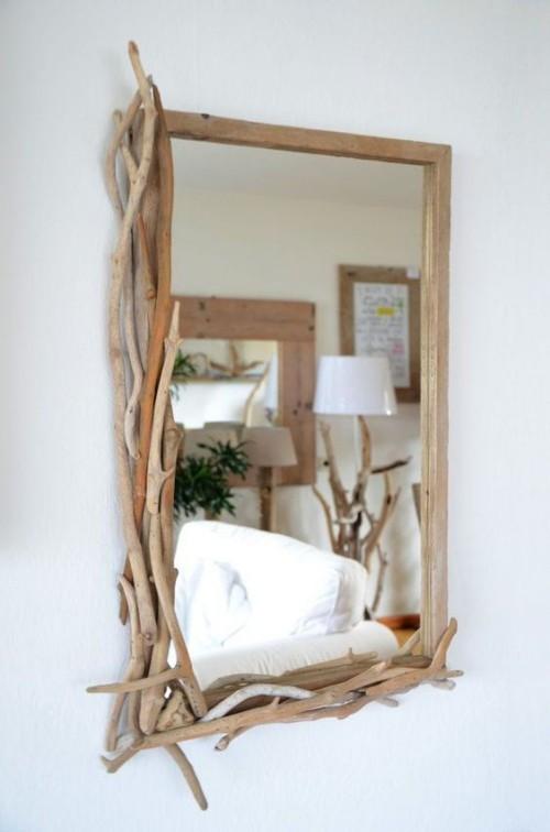 Treibholz im Interieur Spiegelrahmen selbst gemacht