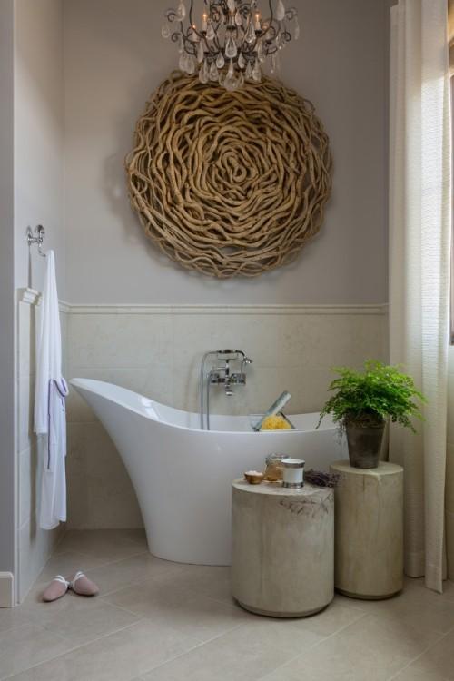 Treibholz im Interieur Wanddeko im Bad aus Altholz