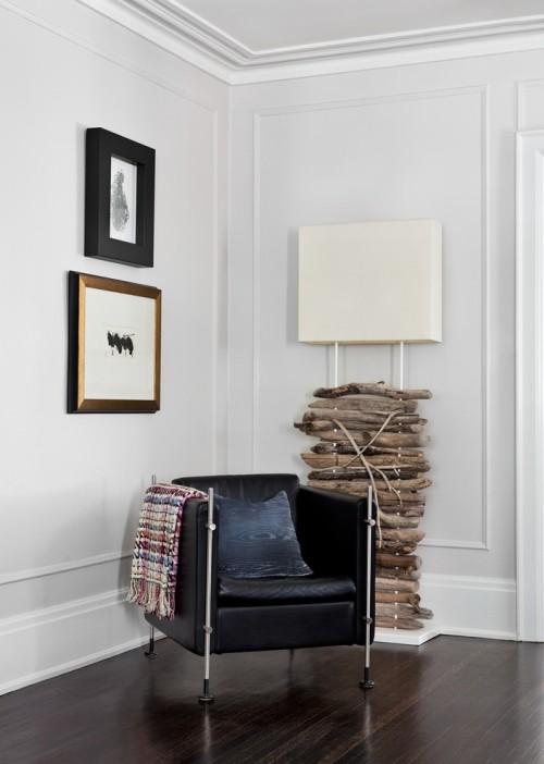Treibholz im Interieur dekorieren Lampenfuß aus Altholz