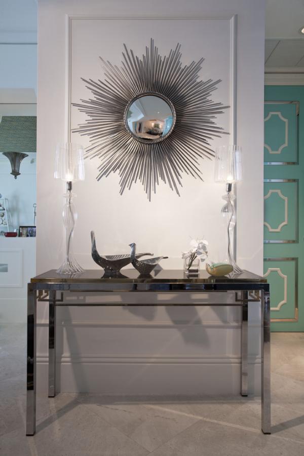 Wandspiegel im Flur modernes Design runder Spiegel