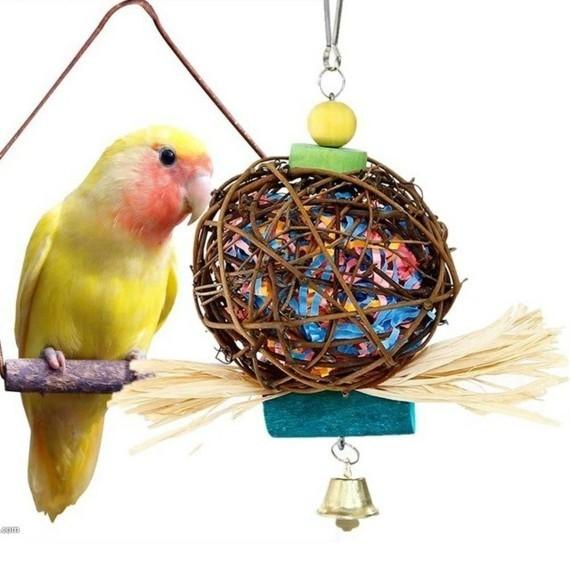 Wellensittich Spielzeug selber bauen DIY Vogelspielzeuge