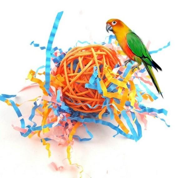 Wellensittich Spielzeug selber machen DIY Vogelspielzeuge Rattan Bälle