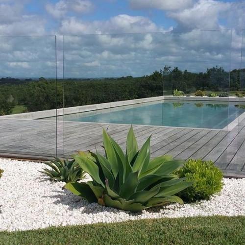 Zaun um Pool Ideen grüne Sukkulenten im Vordergrund exotische Note Kiessteine blauer Himmel