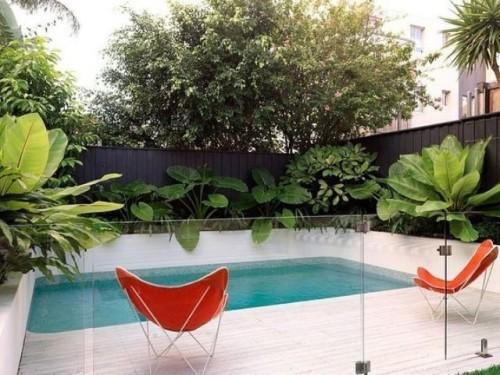 Zaun um Pool Ideen schönes Design starke Dose Exotik