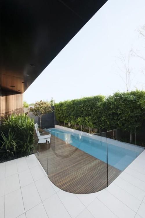 Zaun um Pool Ideen schönes Design