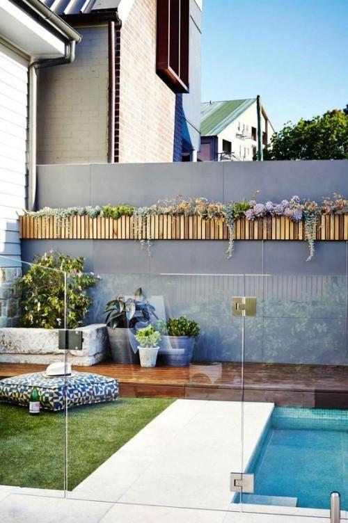 Zaun um Pool Ideen verschiedene Materialien mixen einen erhabenen Look bekommen
