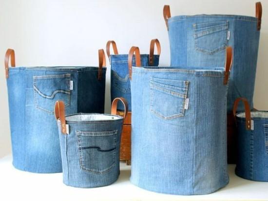 aufbewahrungskörbe wäschekorb selber machen aus alten jeans