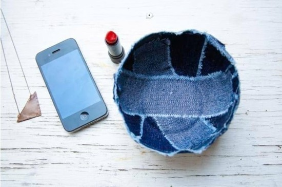 aufbewahrungsschale jeans upcycling idee zum selbermachen