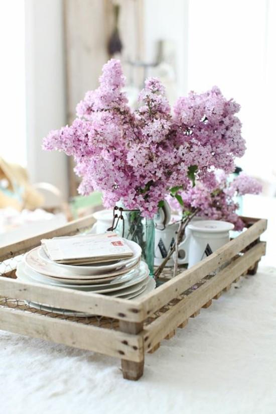 frühstück deko ideen mit flieder