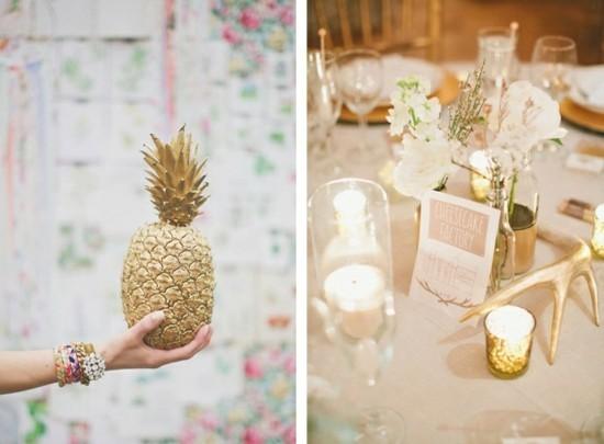 hochzeitsdeko selber machen ananas vergolden