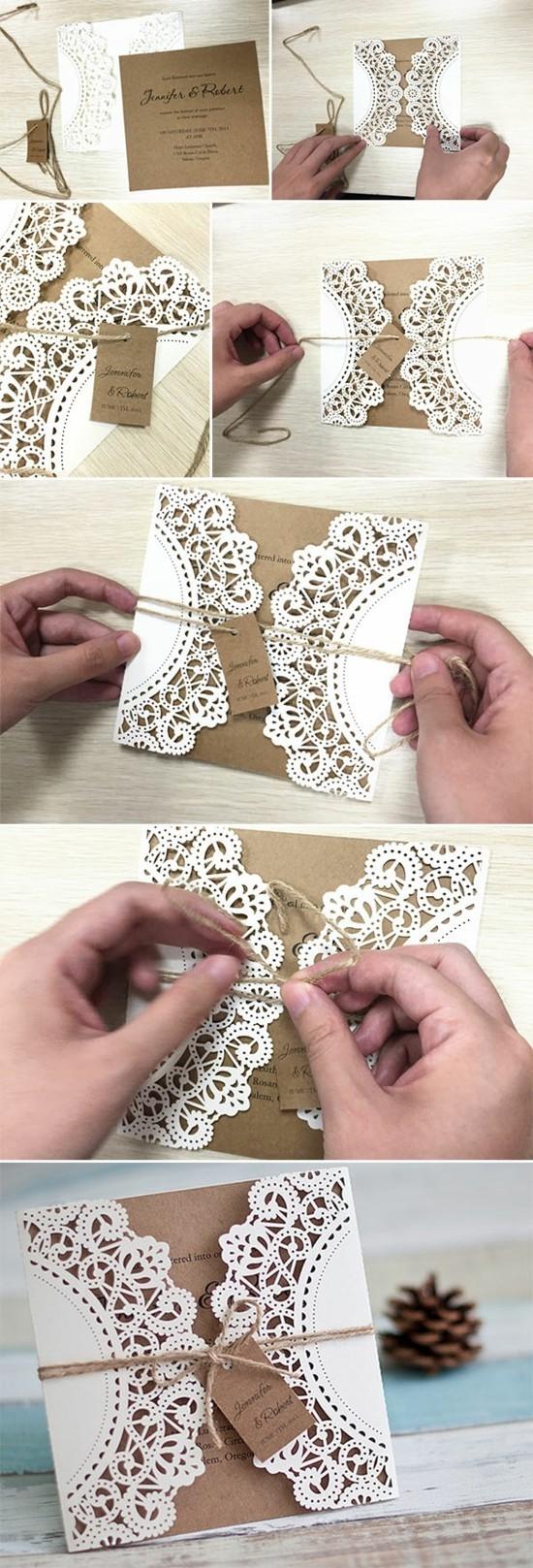 hochzeitsdeko selber machen hochzeitskarten mit spietzendeckchen aus papier