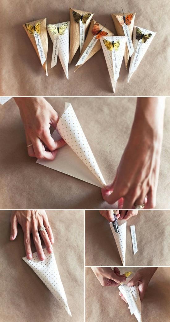 hochzeitsdeko selber machen konfetti tüte mit schmetterlingen anleitung