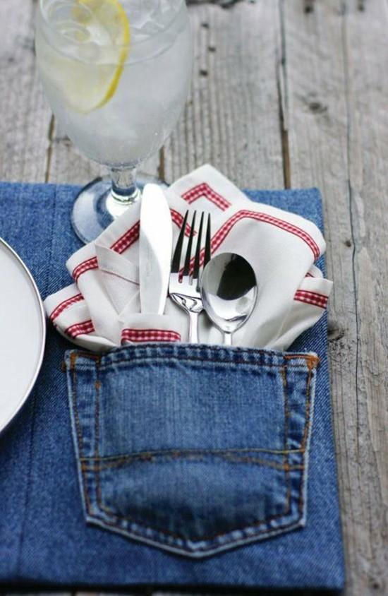 jeans upcycling ideen tischdeko selber machen