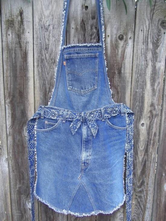 küchenschürze jeans upcycling idee zum nachmachen