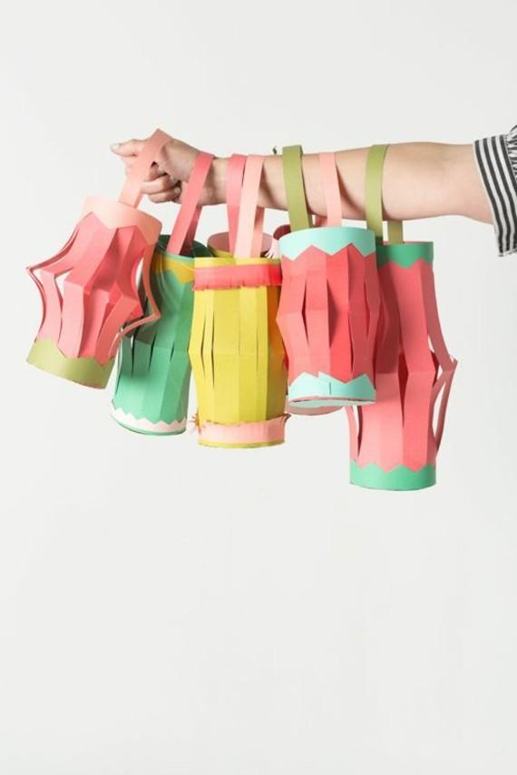 kinderleichte Laternen basteln DIY Papierlaterne Bastelideen