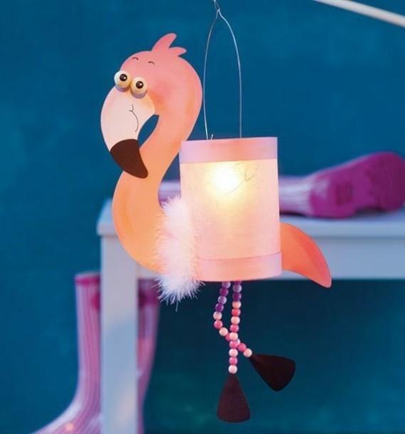 kinderleichte Laternen basteln DIY Papierlaterne Flamingo