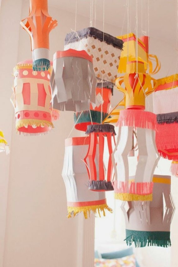 kinderleichte Laternen basteln DIY Papierlaterne Kinderyimmer Deko