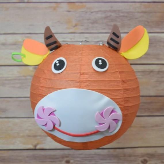 kinderleichte Laternen basteln DIY Papierlaterne Kuh