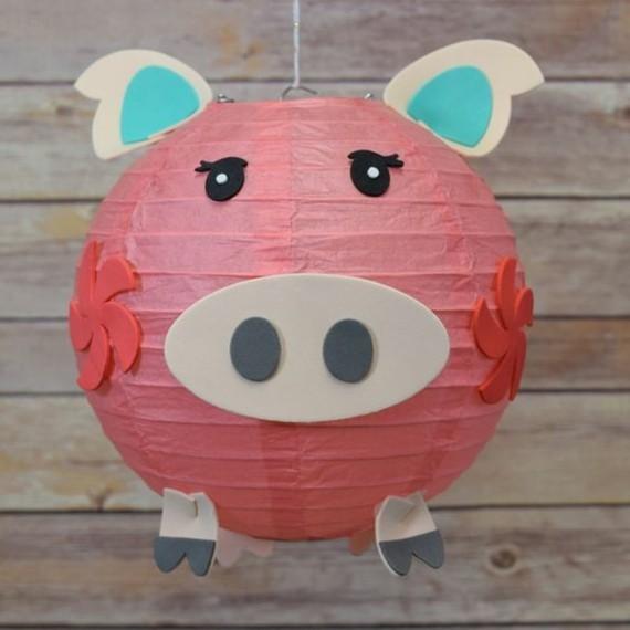 kinderleichte Laternen basteln DIY Papierlaterne Schweinchen