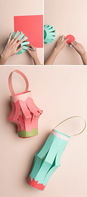kinderleichte Laternen basteln DIY Papierlaterne einfache Ideen