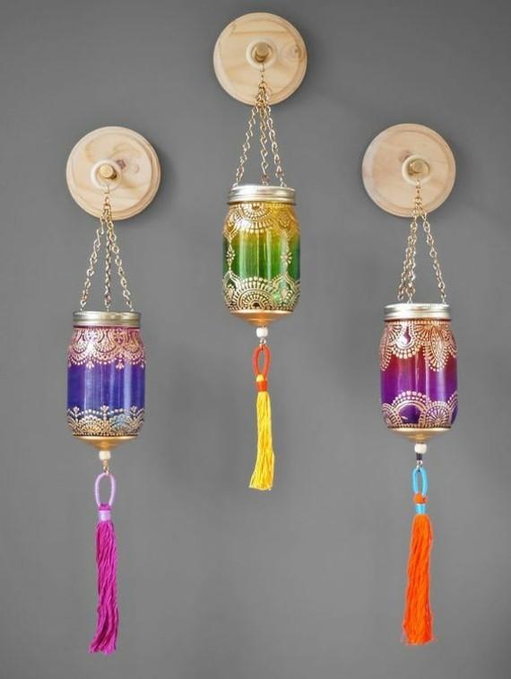 kinderleichte Laternen basteln Einweckgläser dekorieren orientalische Motive