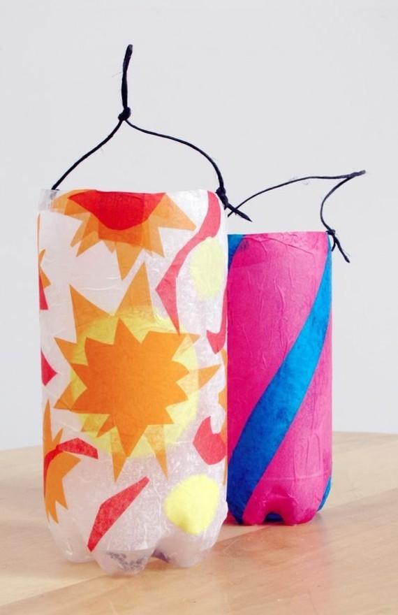 kinderleichte Laternen basteln Plastikflaschen