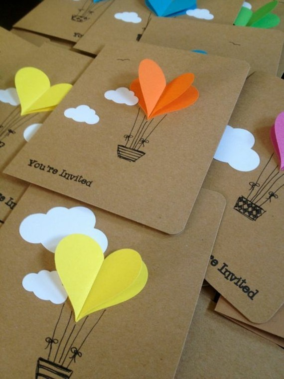 kreative Einladungskarten erstellen 3D Herzen