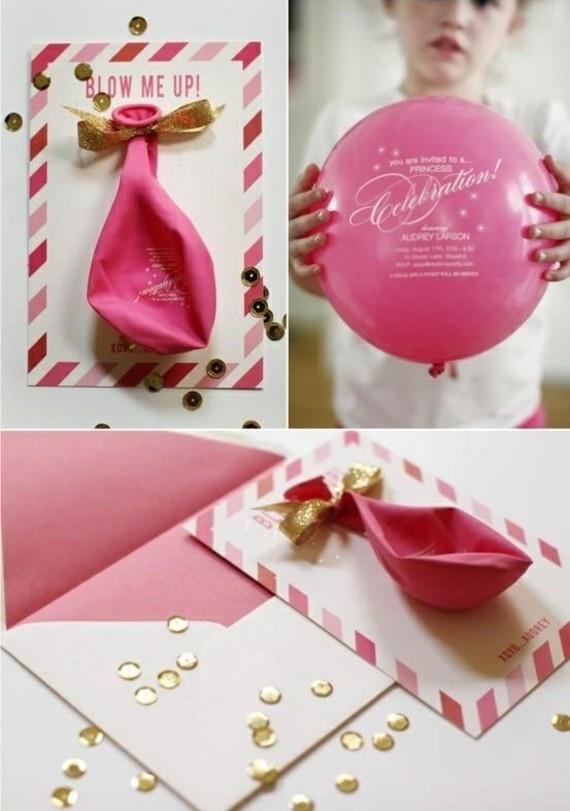 kreative Einladungskarten erstellen Ballon Einladung