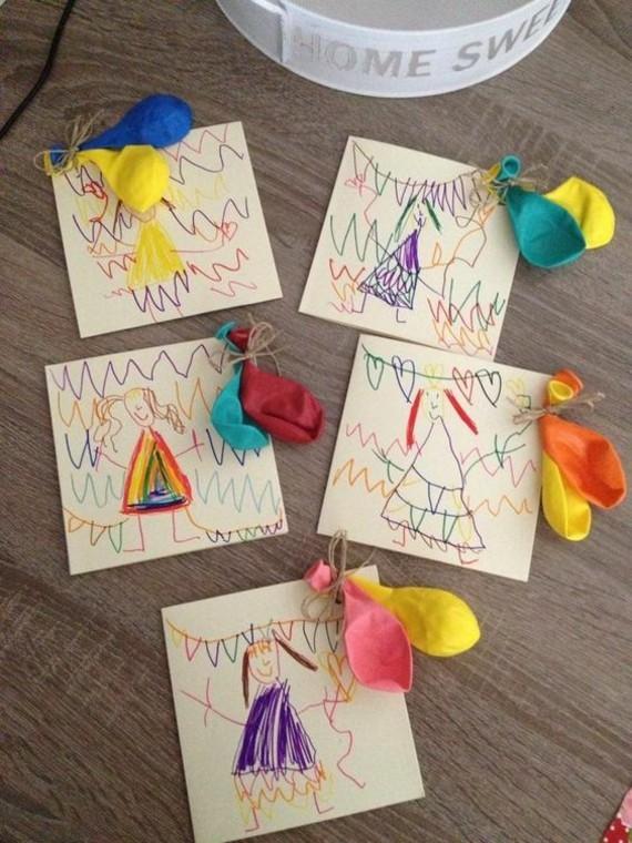 kreative Einladungskarten erstellen Basteln mit Kindern Kinderzeichnungen