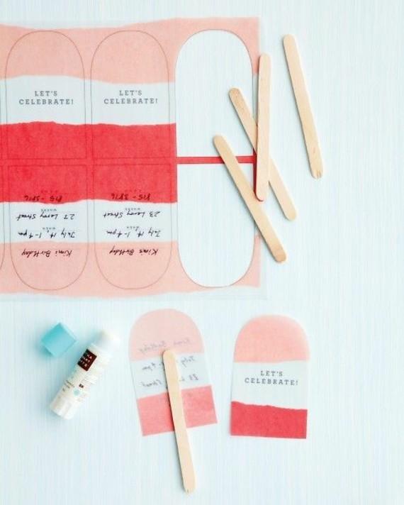 kreative Einladungskarten erstellen Stäbchen Eis
