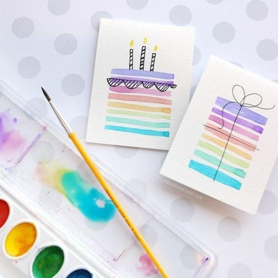 kreative Einladungskarten erstellen Torte zeichnen Wasserfarbe
