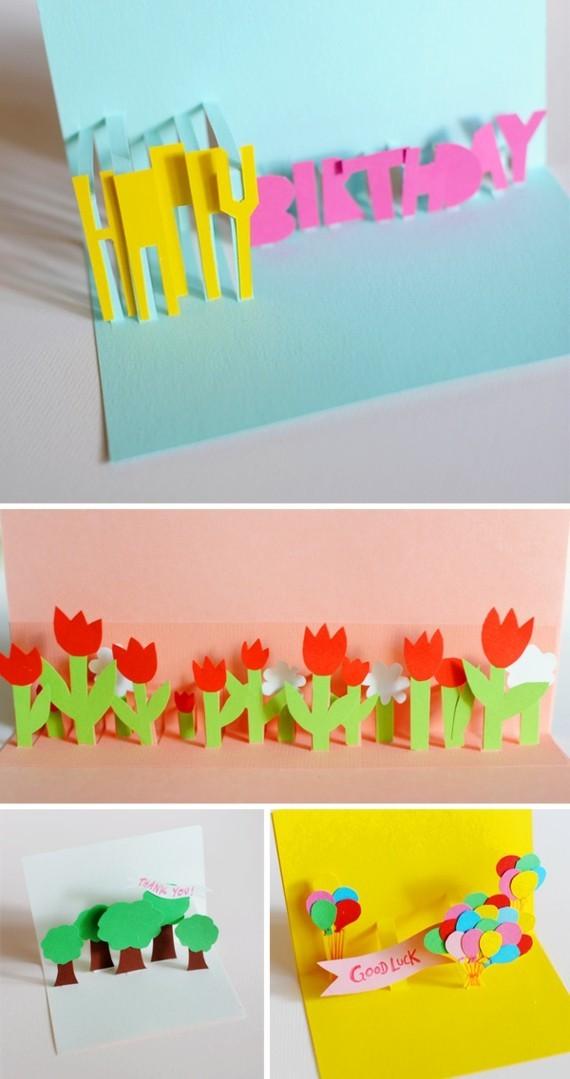 kreative Einladungskarten gestalten Bastelideen Pappkarten