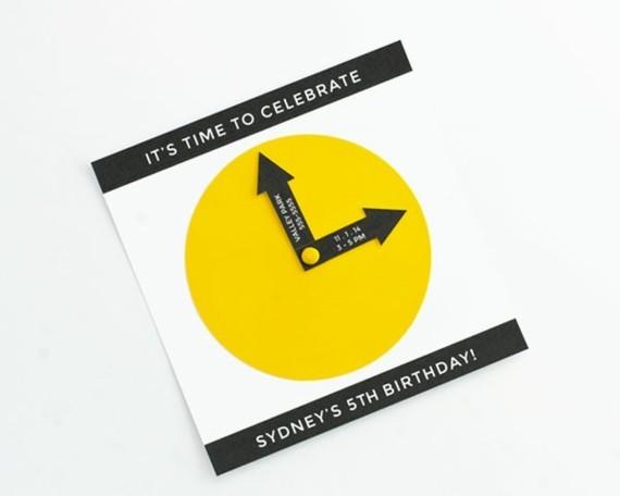 kreative Einladungskarten gestalten Uhr Design