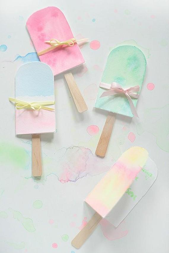 kreative Einladungskarten selbst gestalten Basteln mit Kindern Eis