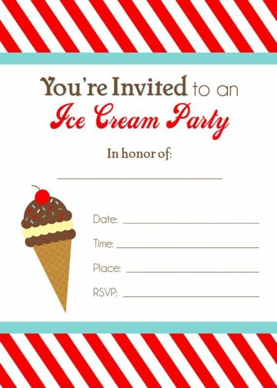 kreative Einladungskarten selbst gestalten Eis Party