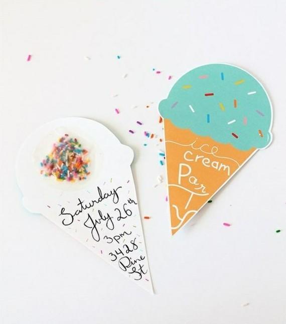 kreative Einladungskarten selbst gestalten Eis