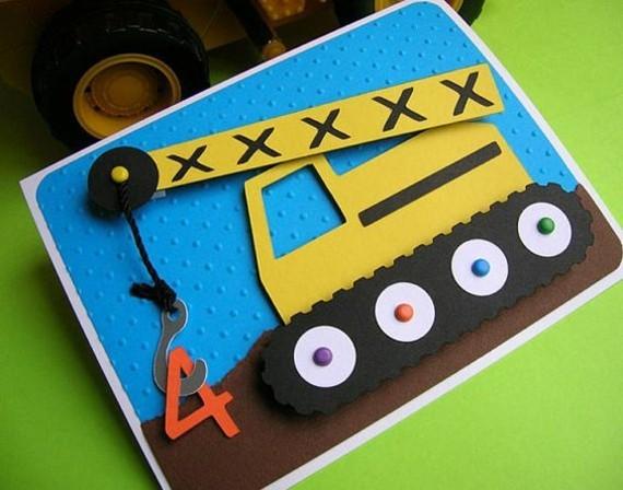kreative Einladungskarten selbst gestalten Kindergeburtstag Bagger