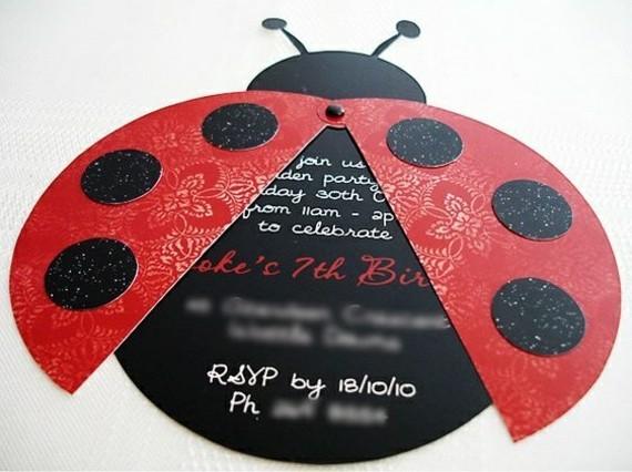 kreative Einladungskarten selbst gestalten Marienkäfer Design