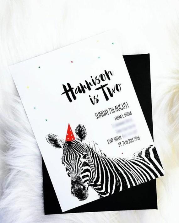 lustige Einladungskarten selbst gestalten Zebra
