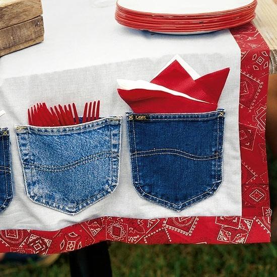 originelle tischdeko jeans upcycling ideen