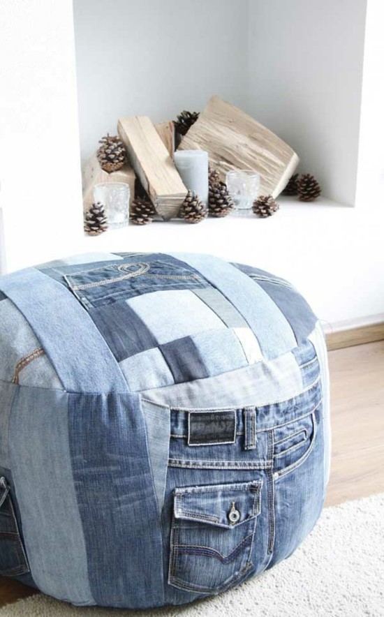 pouf selber nähen jeans upcycling ideen