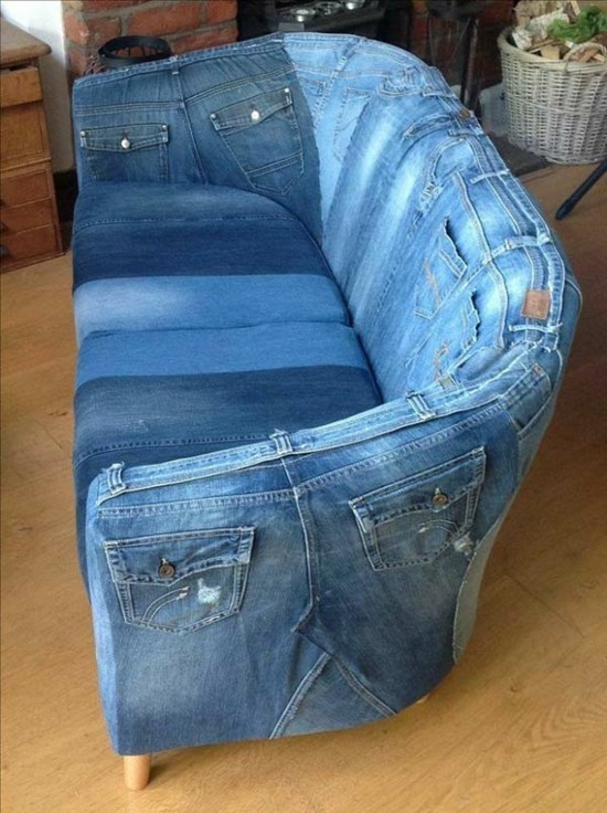 sofabezug selber machen jeans upcycling ideen