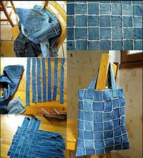 stofftasche selber machen jeans upcycling ideen