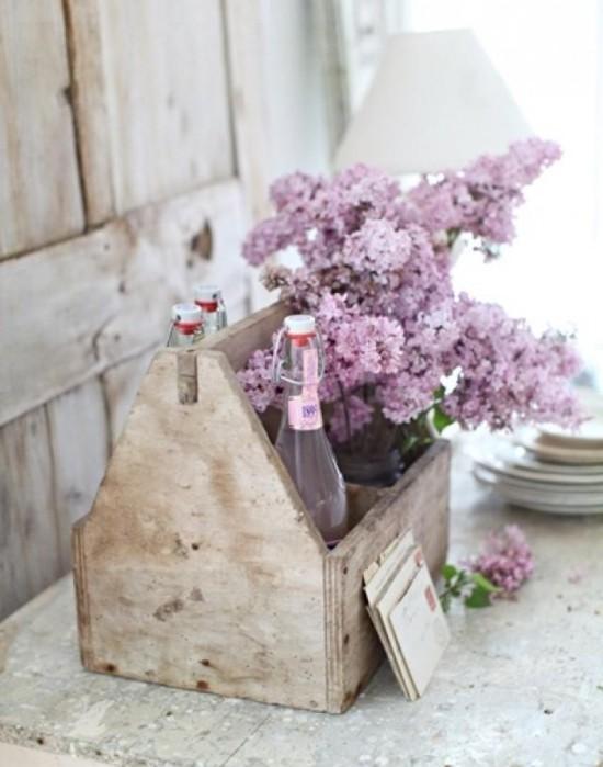 vintage upcycling deko ideen mit flieder blüten